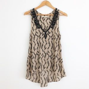 Anthropologie Hazel Beaded Feather Print Tank Top
